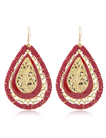 Fashion Red Water Drop Shape Pendant Decorated Hollow Out Design Earrings