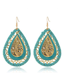Fashion Light Blue Water Drop Shape Pendant Decorated Hollow Out Design Earrings