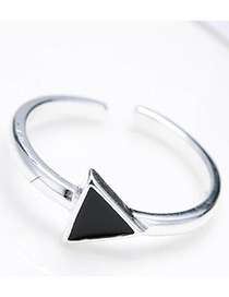 Fashion Antique Silver Triangle Shape Decorated Pure Color Opening Ring