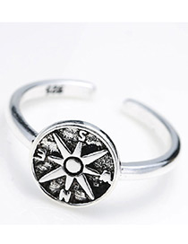 Fashion Antique Silver Compass Pattern Decorated Pure Color Opening Ring