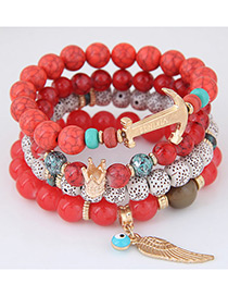 Elegant Red Wing Pendant Decorated Color Matching Simple Bracelet