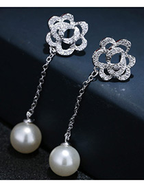 Fashion Silver Color Pearls&flower Decorated Pure Color Simple Earrings