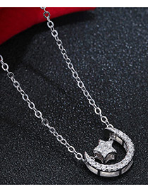 Sweet Silver Color Moon&star Shape Pendant Decorated Pure Color Necklace