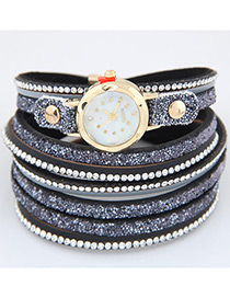 Trendy Navy Diamond Decorated Round Dail Multi-laye Simple Watch