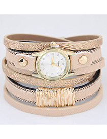 Trendy Beige Pure Color Decorated Multi-layer Simple Watch