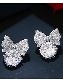 Fashion Silver Color Diamond Decorated Bowknot Shape Pure Color Earrings