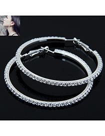 Elegant Silver Color Full Diamond Decorated Circular Ring Shape Earrings
