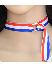 Trendy Mutli-color Circular Ring Shape Decorated Color Matching Necklace