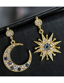 Trendy Mutli-color Moon&star Shape Decorated Color Matching Simple Earrings