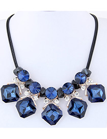 Fashion Blue Diamond Decorated Geometry Design Multi-color Necklace