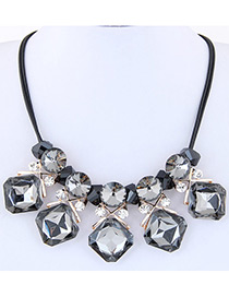 Fashion Gray Diamond Decorated Geometry Design Multi-color Necklace