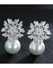 Trendy White+silver Color Pearl&diamond Decorated Pure Color Simple Earrings