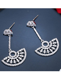 Trendy Silver Color Diamond Decorated Hollow Out Design Pure Color Earrings