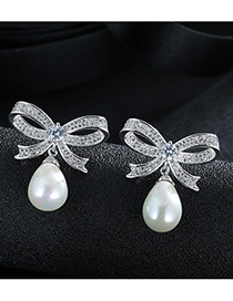 Trendy White+silver Color Pearl&diamond Decorated Bowknot Shape Color Matching Earrings
