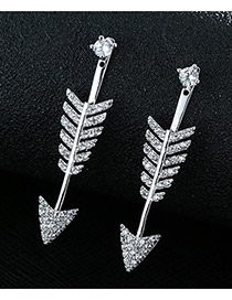Trendy Silver Color Diamond Decorated Arrow Shape Pure Color Simple Earrings