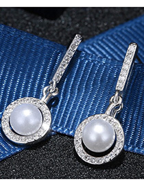 Trendy White+silver Color Pearl&diamond Decorated Round Shape Color Matching Earrings