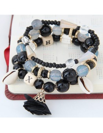 Bohemia Black Flower&shell Shape Pendant Decorated Simple Multilayer Bracelet