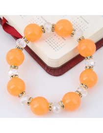 Bohemia Light Orange Round Shape Decorated Simple Color Matching Design Bracelet