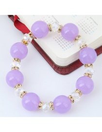 Bohemia Purple Round Shape Decorated Simple Color Matching Design Bracelet