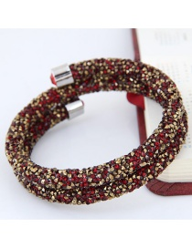 Trendy Red+Gold color Color Matching Decorated Double Layer Opening Bracelet