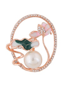 Fashion Gold Color Pearls&diamond Decorated Flower Shape Brooch