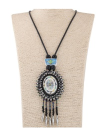 Fashion Black Beads Decorated Tassel Design Color Matching Sweater Chain
