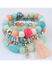 Trendy Light Pink Tassel Pendant Decorated Color Matching Multi-layer Bracelet