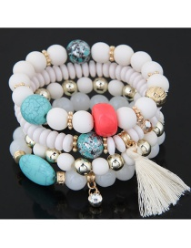 Trendy White Tassel Pendant Decorated Color Matching Multi-layer Bracelet
