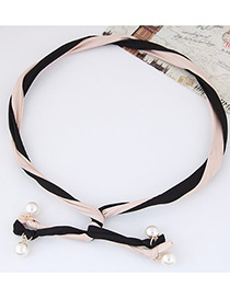 Fashion Orange + Black Pearl Decorated Color Matching Simple Design Headbands