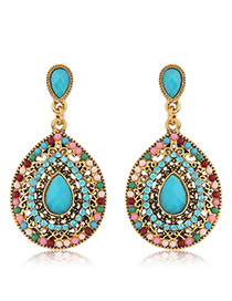 Trendy Mutlti-color Diamond Decorated Hollow Out Design Pure Color Earrings