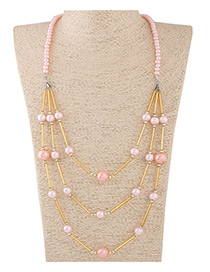 Fashion Multi-color Beads Decorated Multi-layer Design Color Matching Necklace