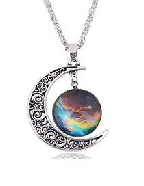 Vintage Multi-color Moon Shape Decorated Hollow Out Design Simple Necklace