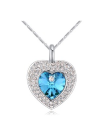 Elegant Silver Color Heart Shape Pendant Decorated Simple Long Chain Necklace