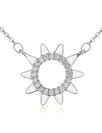 Elegant Silver Color Sun Shape Pendant Decorated Simple Long Chain Necklace