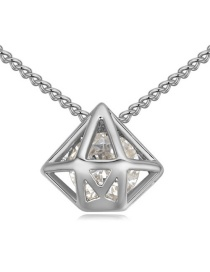 Elegant Silver Color Hollow Out Diamond Shape Pendant Decorated Simple Long Chain Necklace