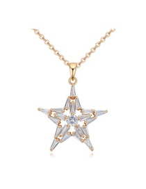 Fashion Gold Color Star Shape Decorated Simple Pure Color Long Chain Necklace