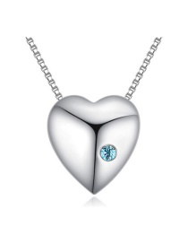 Fashion Blue Round Shape Decorated Simple Heart Design Long Chain Necklace