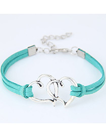 Fashion Blue Double Heart Shape Decorated Simple Double Layer Bracelet
