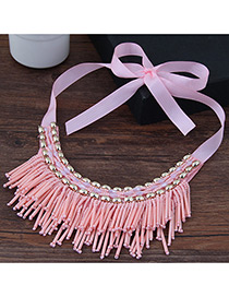 Vintage Pink Tassel Decoreated Simple Short Chain Collar Necklace