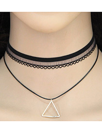 Vintage Black Triangle Shape Pendant Decorated Double Layer Choker