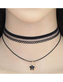Vintage Black Metal Star Shape Pendant Decorated Double Layer Choker