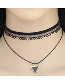 Vintage Black Metal Triangle Shape Pendant Decorated Double Layer Choker