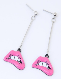Sweet Pink Lip Shape Decorated Pure Color Earrings
