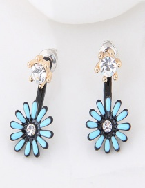 Sweet Blue Flower Decorated Color Matching Earrings