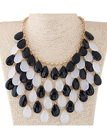 Fashion Black+white Water Drop Shape Diamond Decorated Color Matching Necklace