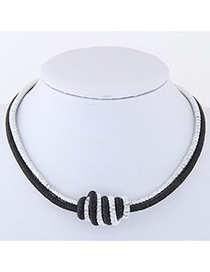 Elegant Black Knot Design Color Matching Simple Necklace