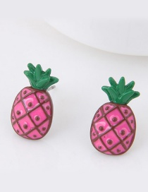 Sweet Pink Pineapple Shape Decorated Simple Earrings
