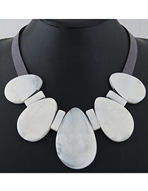 Trendy White Water Drop Shape Decorated Pure Color Necklace