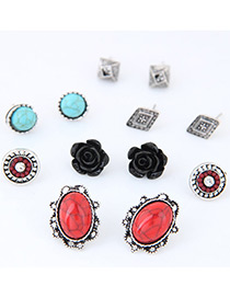 Fashion Multi-color Flower Decorated Color Matching Simple Earrings (12 Pcs)