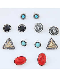 Fashion Multi-color Geometry Shape Decorated Color Matching Simple Earrings (12 Pcs)
